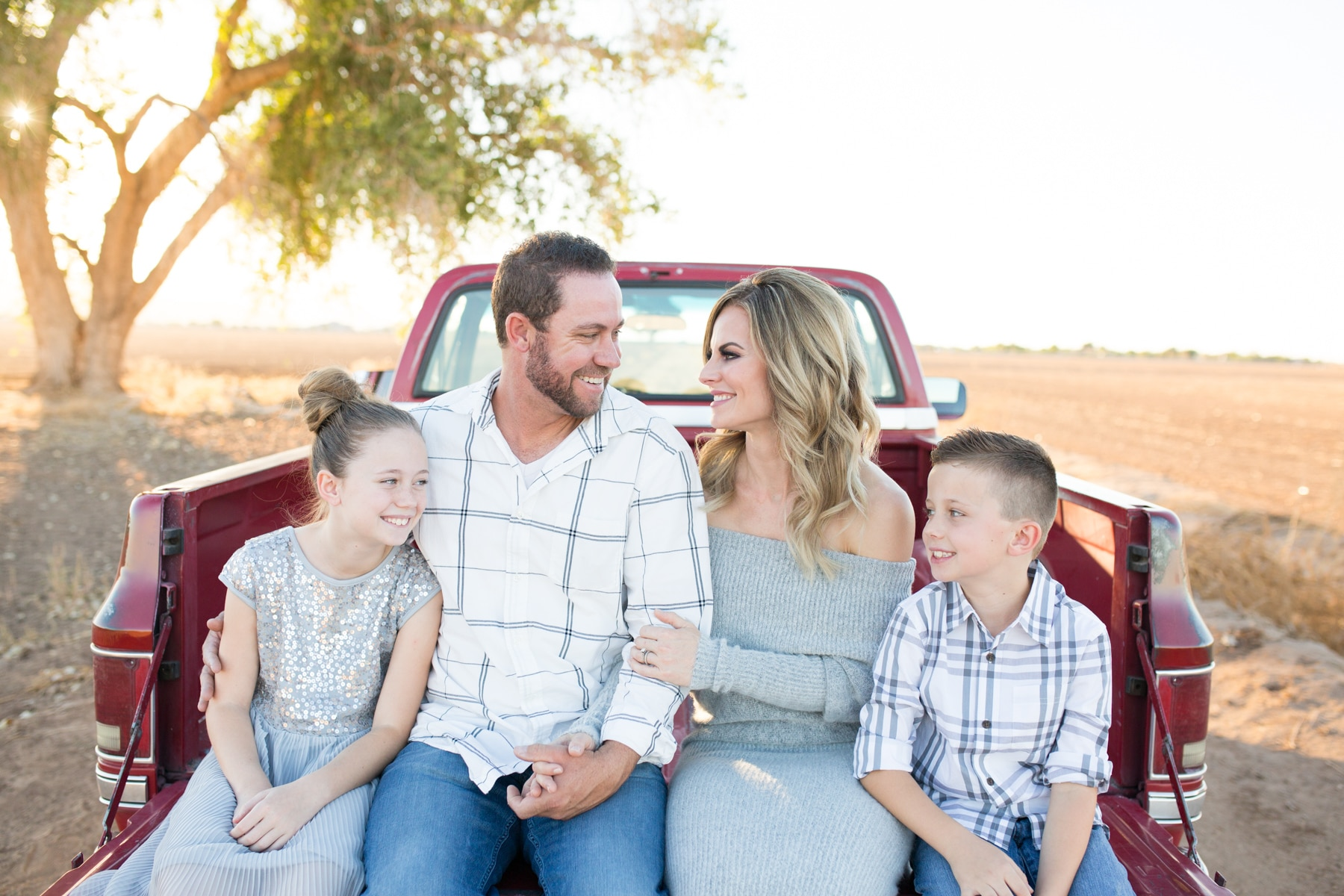 Portrait Photography of family in old pickup truck