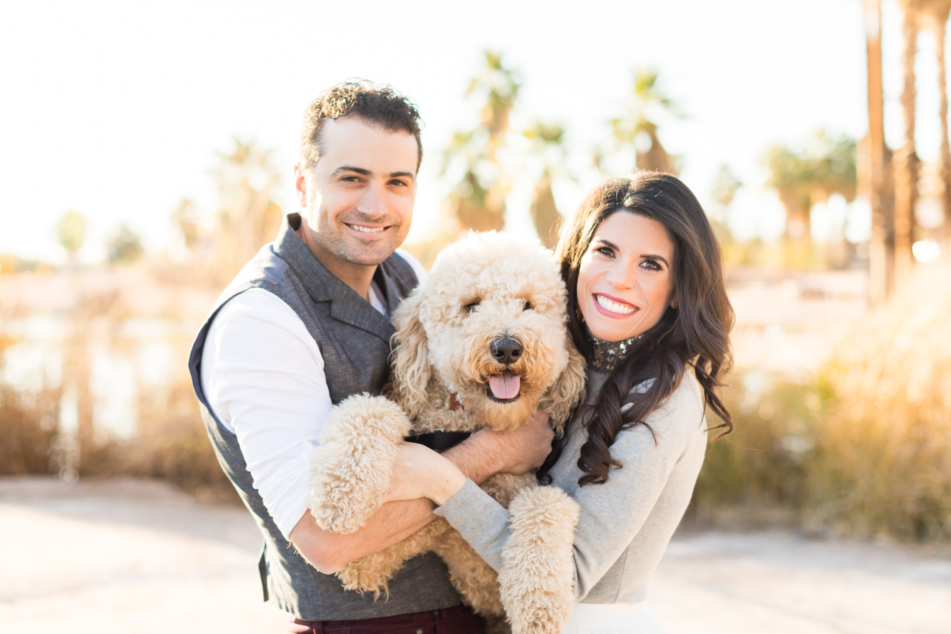 Engaged couple holding a labradoodle dog