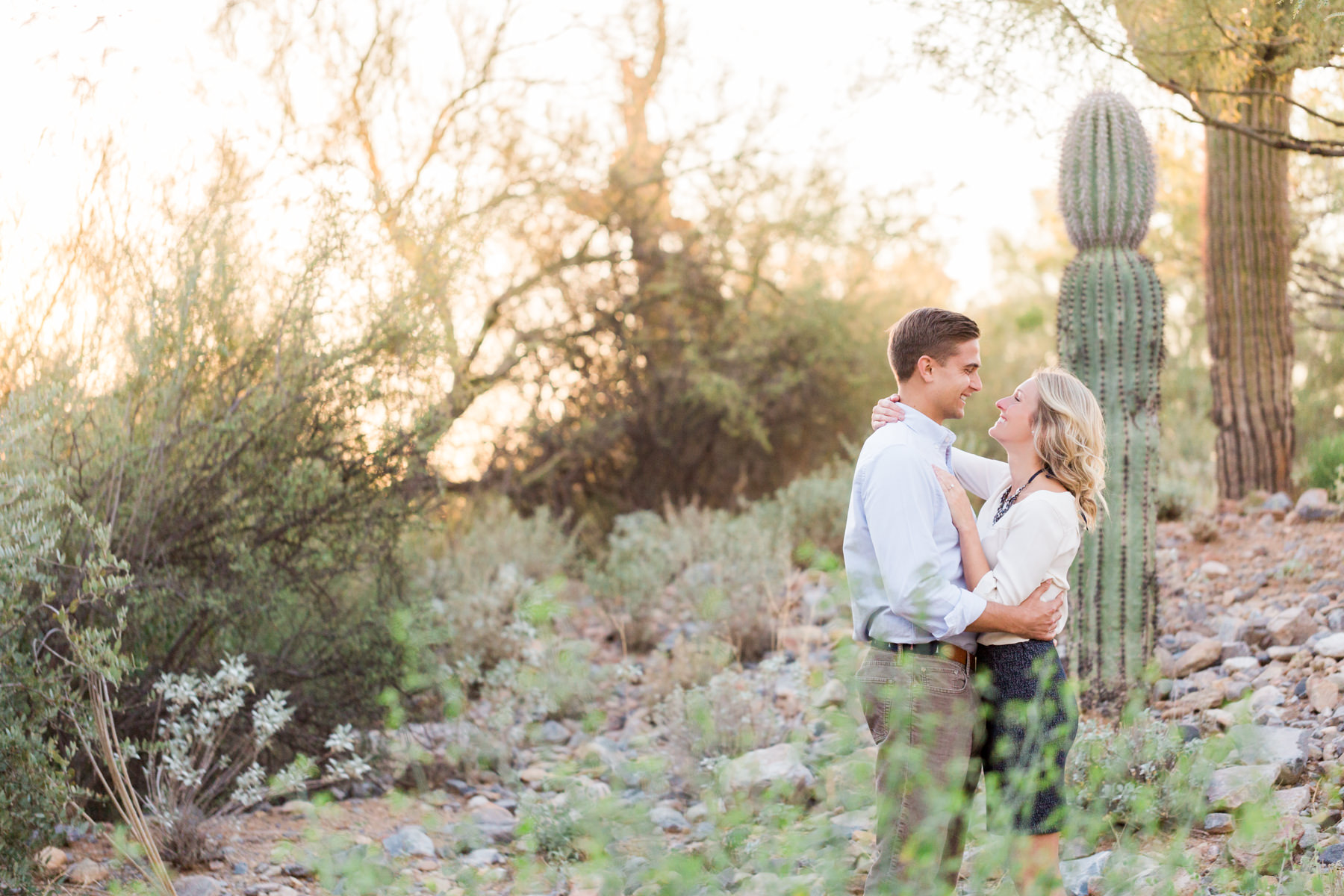 Romantic engagement session in desert