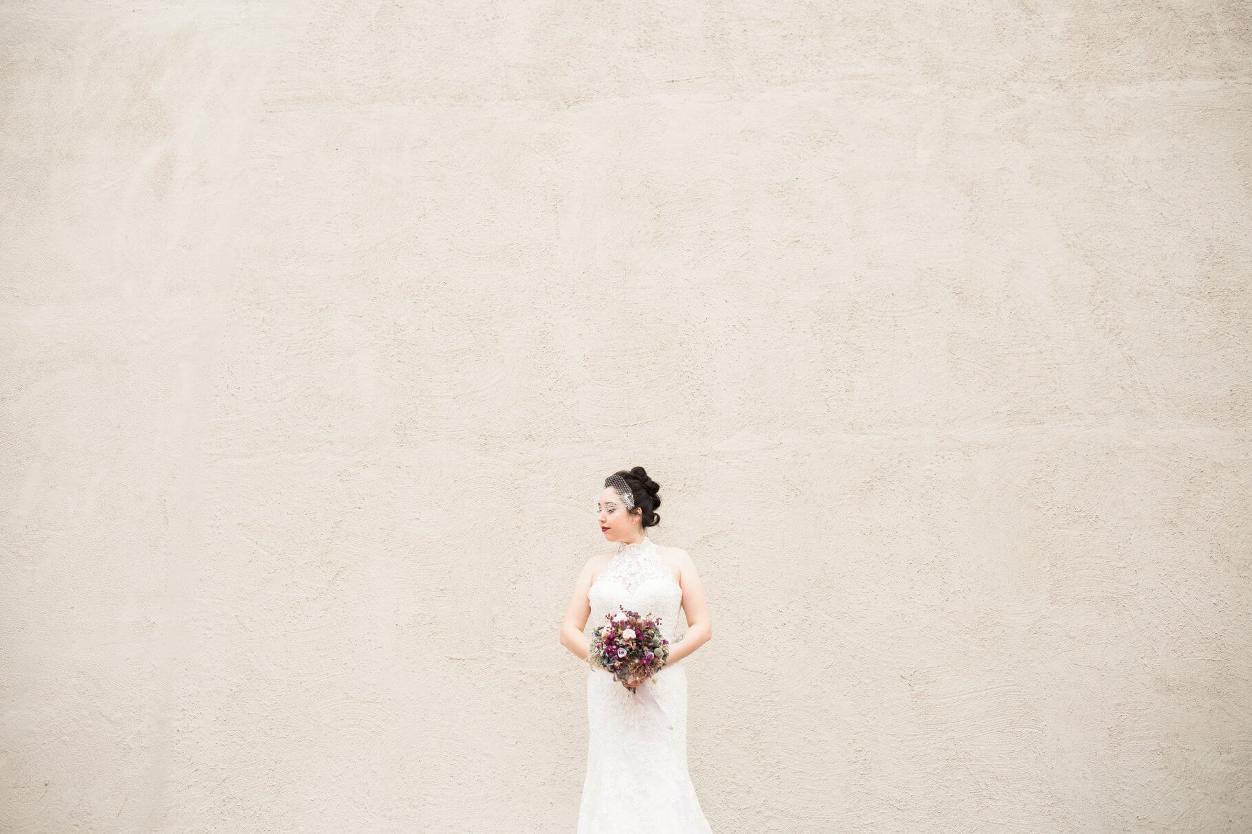 Simple Bride with cage veil