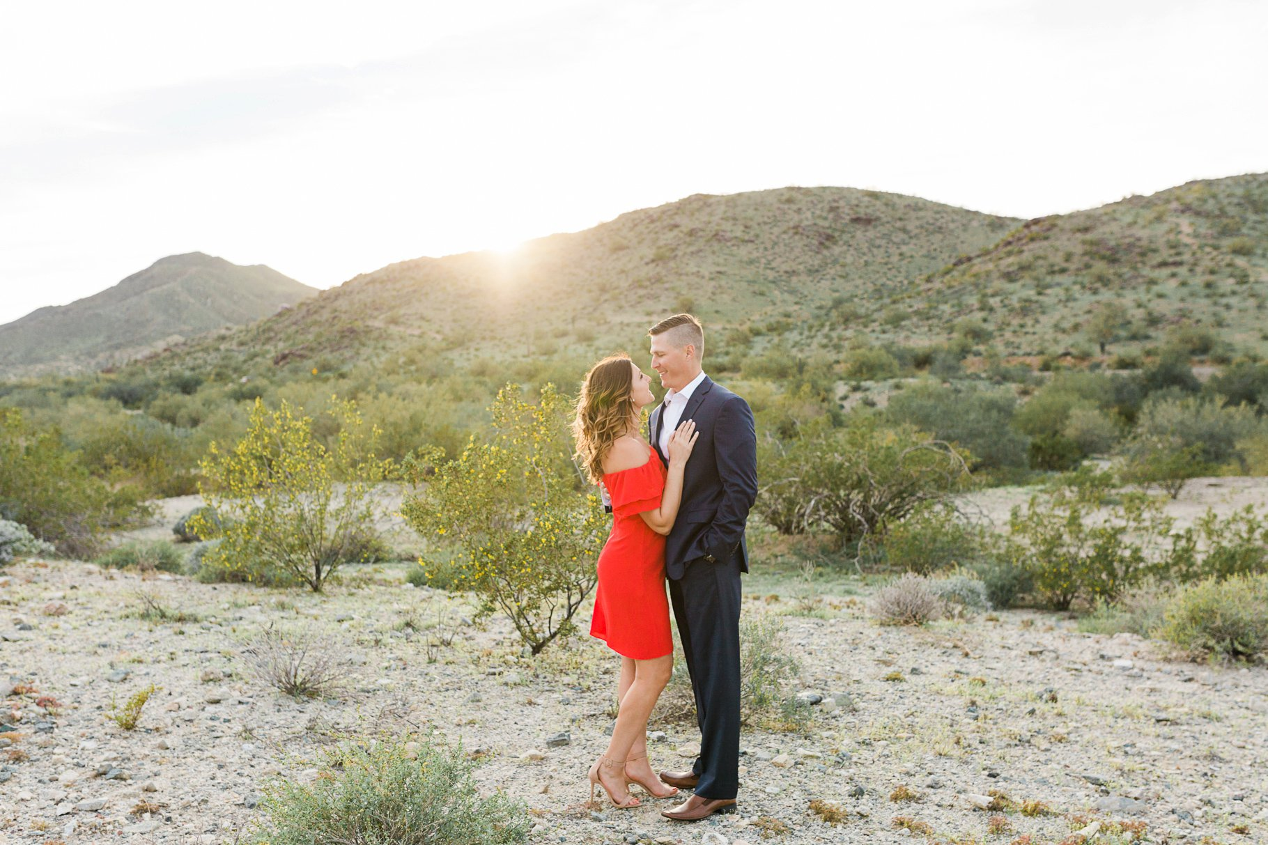 engagement session on South Mountain at sunset with girl in a red dress