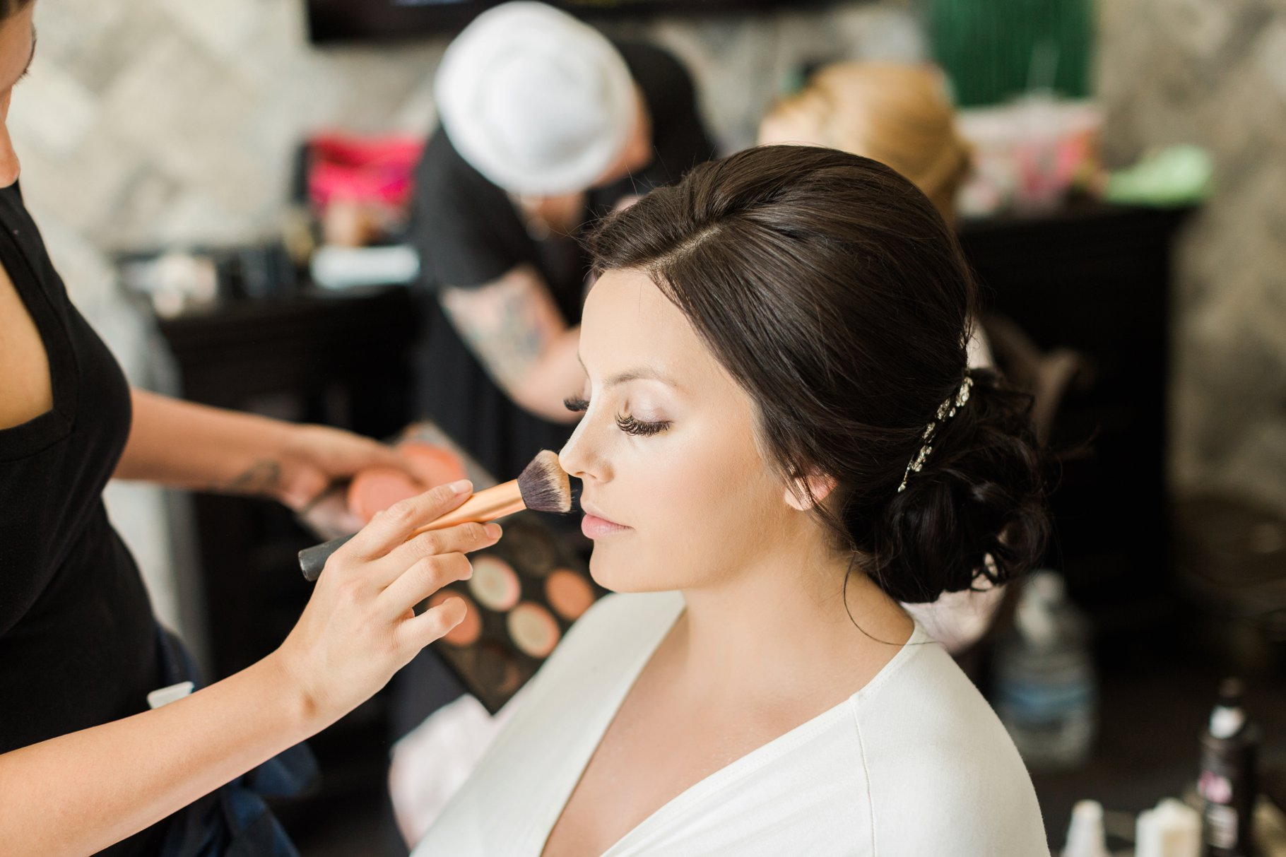 Bridal getting her makeup done