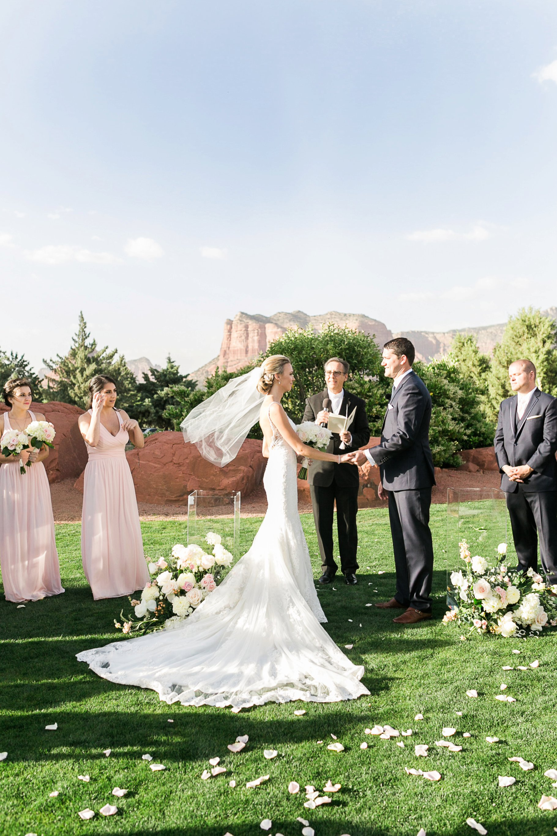 Windy day at Sedona Golf Resort Wedding Ceremony