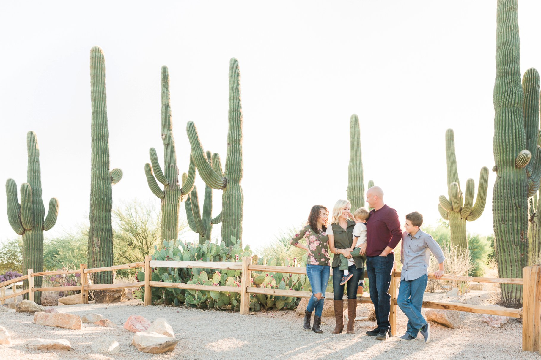 Family Photos with Saguaro backdrop