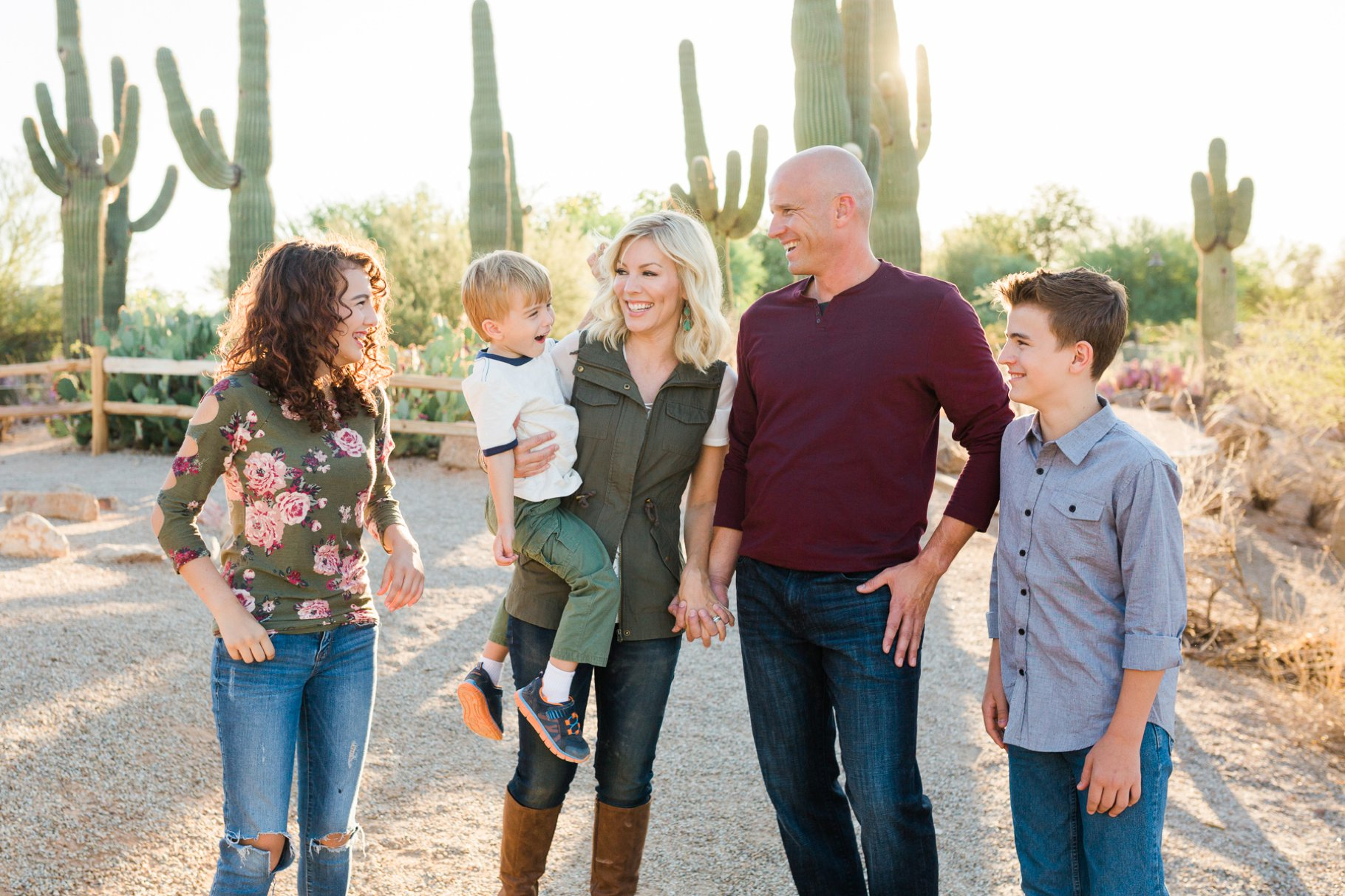Joyful family at Gilbert Riparian Preserve