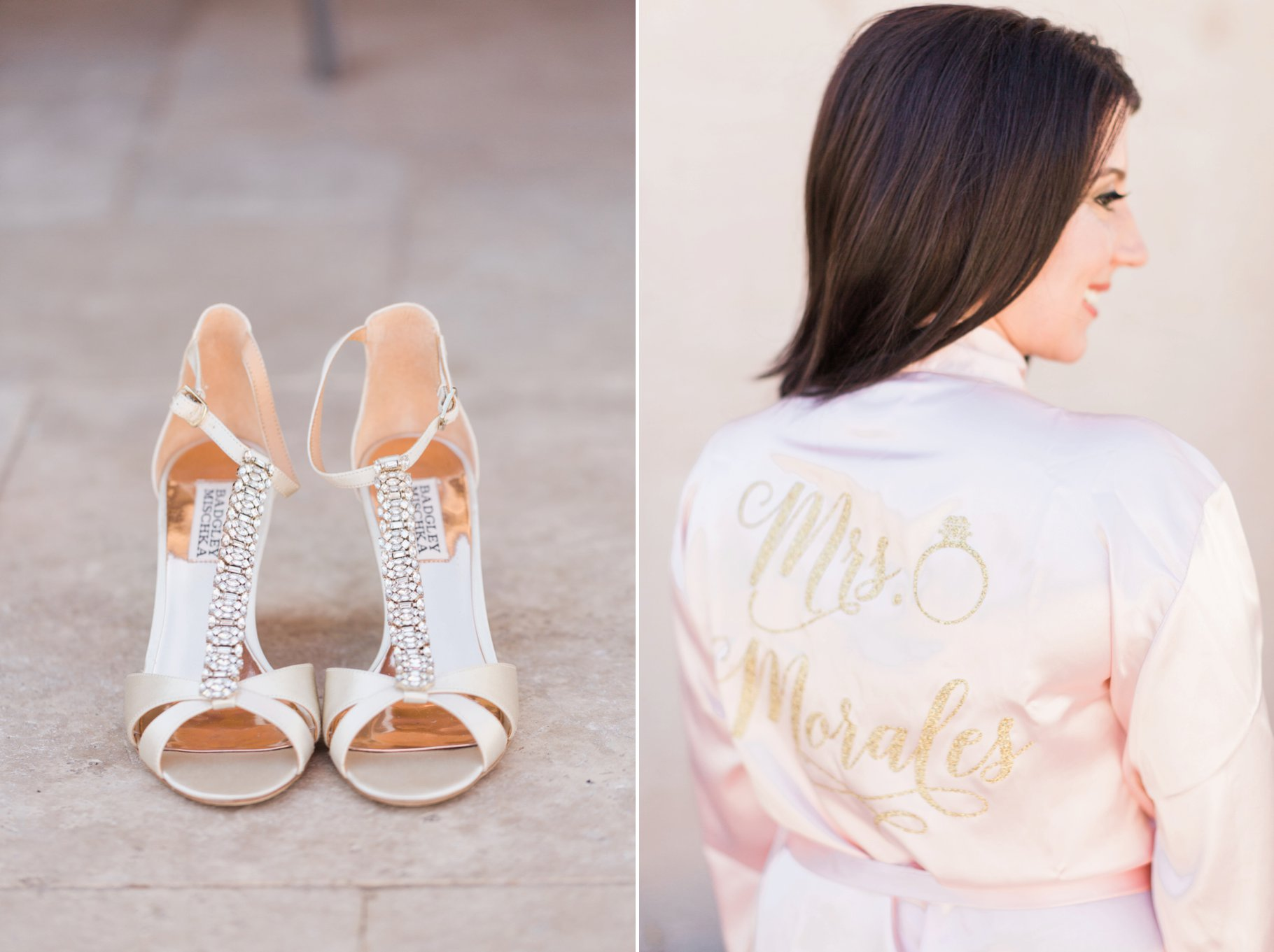 Bride in Pink Silk Robe with Badgley Mischka wedding shoes