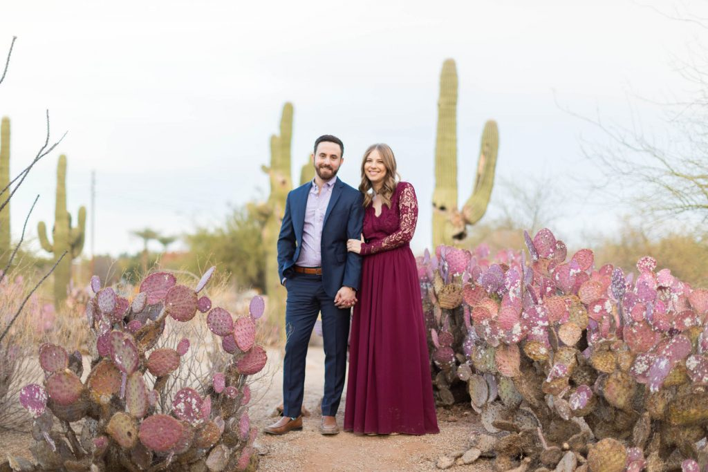 Engagement Photos with Cactus and saguaros in background