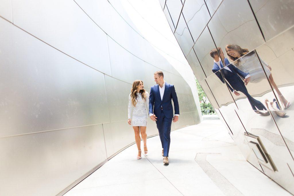 engaged couple at disney hall los angeles