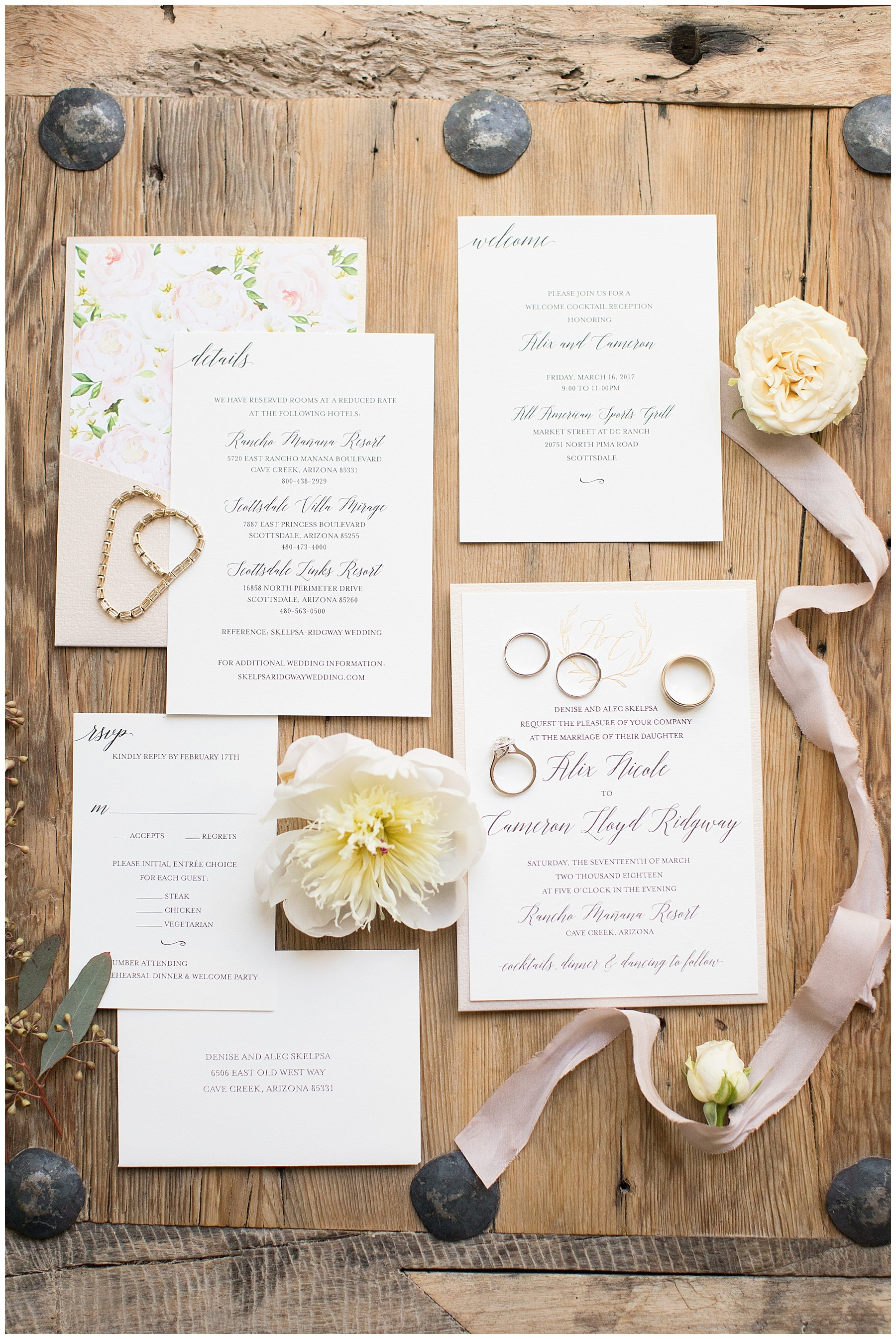Styled wedding invitation