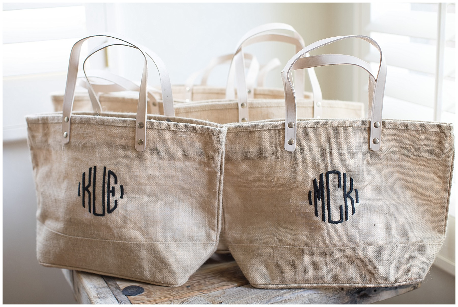 monogrammed burlap bags for bridesmaids gifts