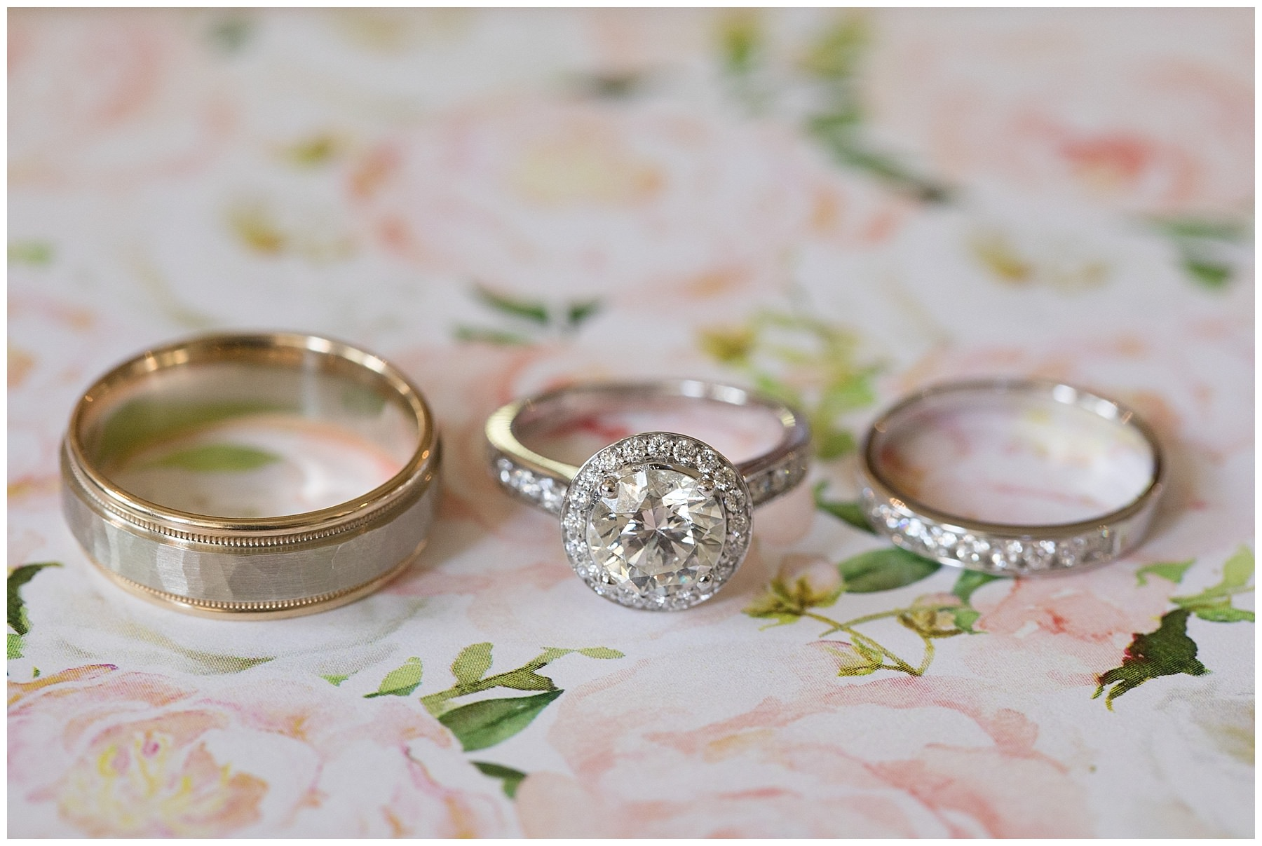 wedding rings and halo round solitare