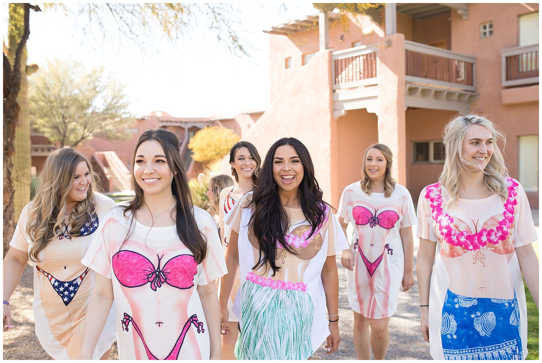 bride and bridesmaids in bikini printed tee shirts