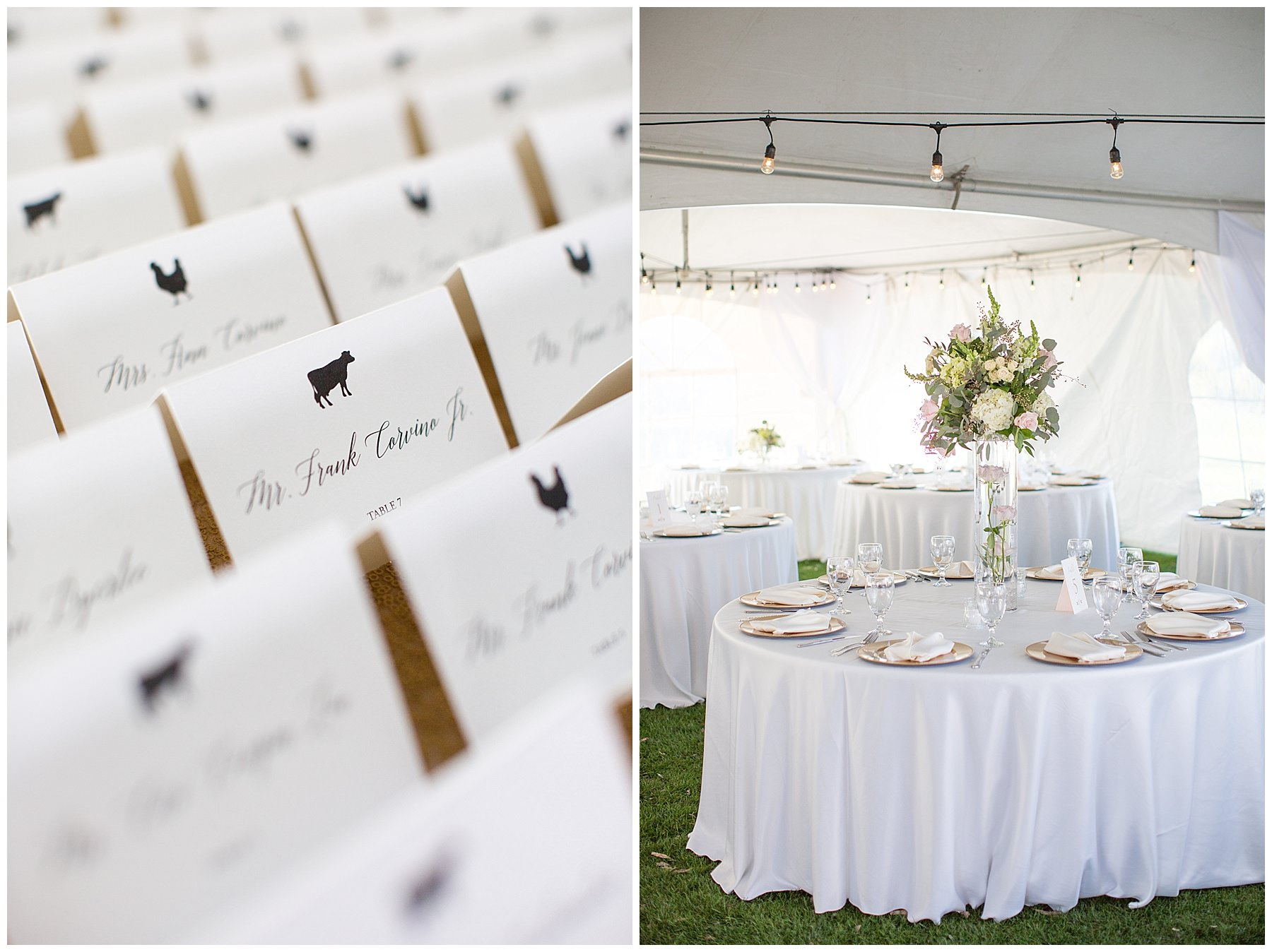 escort cards and white linen wedding tables